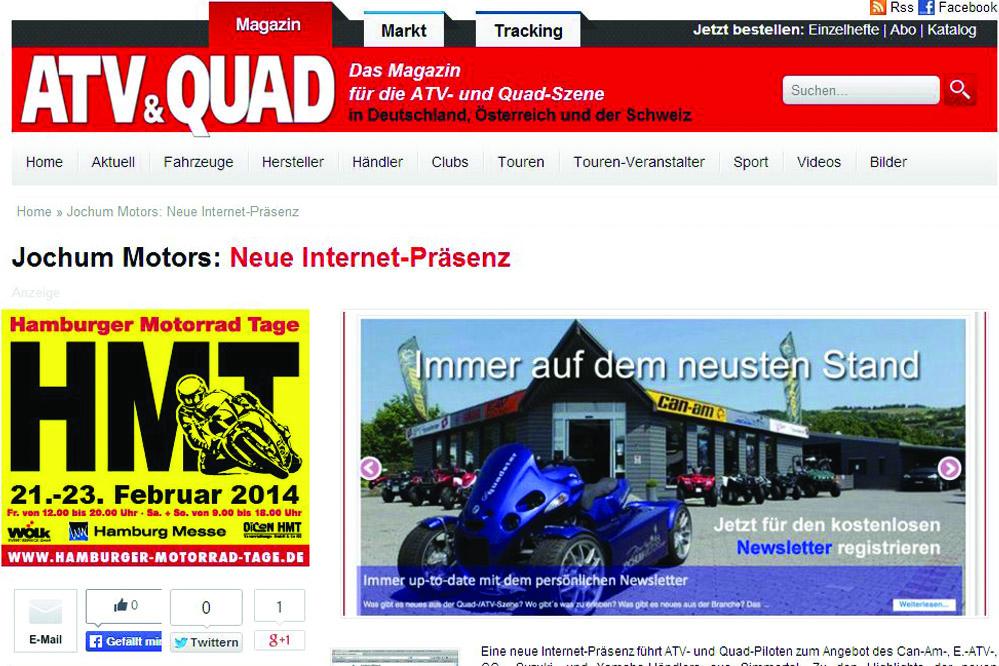 Die neue Internetseite von Jochum-Motors bekommt einen extra Artikel im Fachmagazin ATV-Quad
