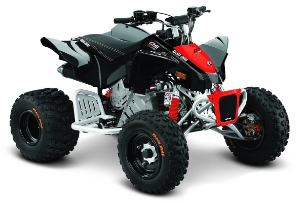 DS 90 X ein ATV in Black mit Can-Am Red von Can-Am - Modelljahr 2020 - 0003LLB00