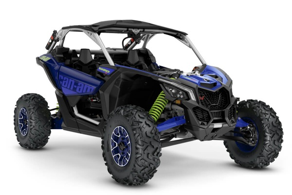 Maverick X rs Turbo RR ein SSV in Hyper Silver mit Intense Blue & Manta Green von Can-Am - Modelljahr 2020 - 0007TLJ00