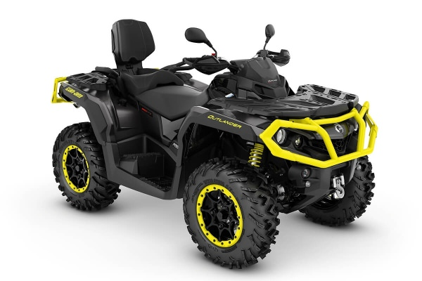 Outlander 1000 Max XT-P T ein ATV in Carbon Black mit Sunburst Yellow von Can-Am - Modelljahr 2020 - 0005LLE00