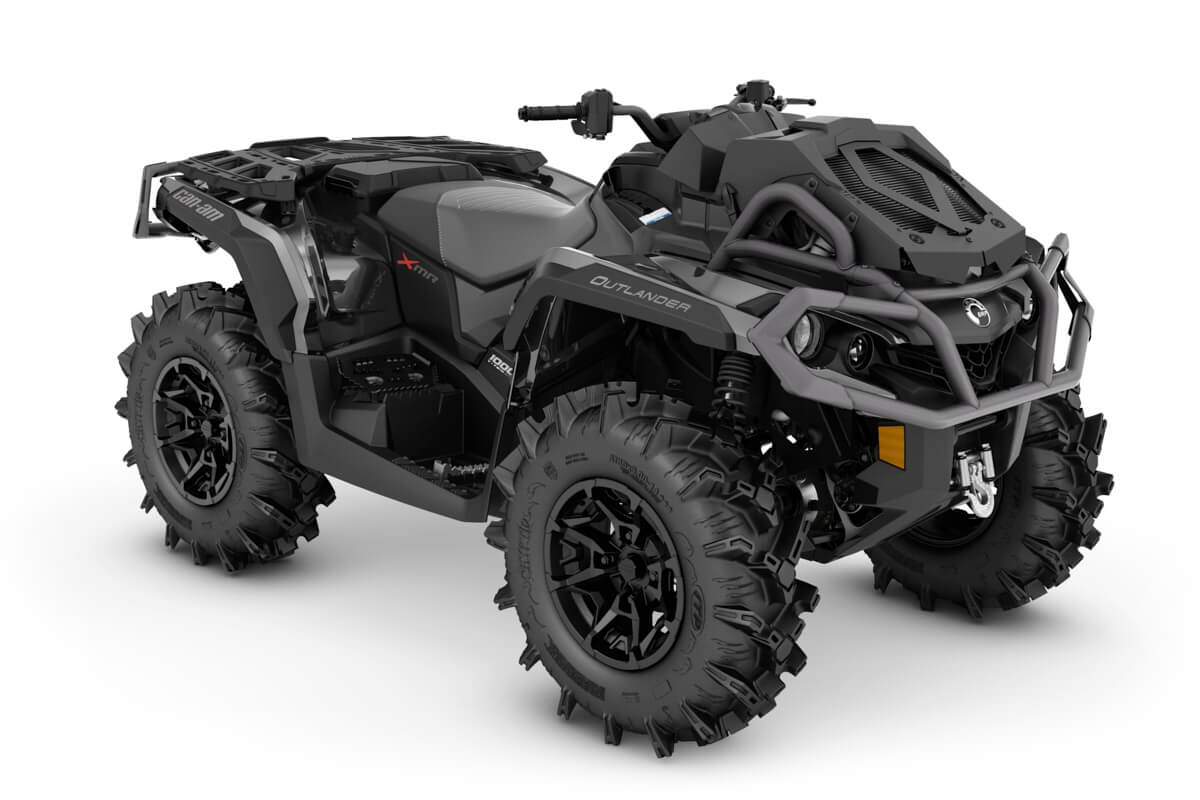 Outlander 1000R X mr ein ATV in Black mit Platinum Silver von Can-Am - Modelljahr 2020 - 0005KLD00