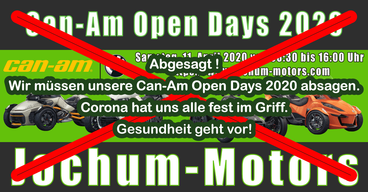 Corona - Can-Am Open Days 2020 abgesagt.